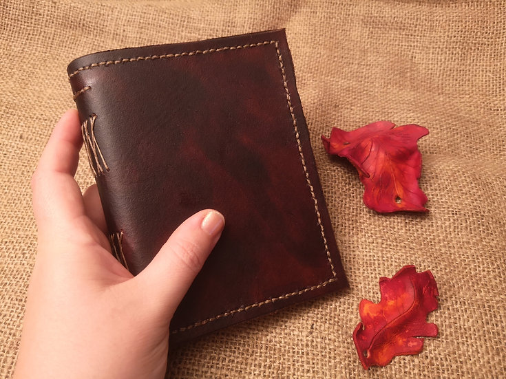 Leather journal - Hand stitched leather journal spellbook diary