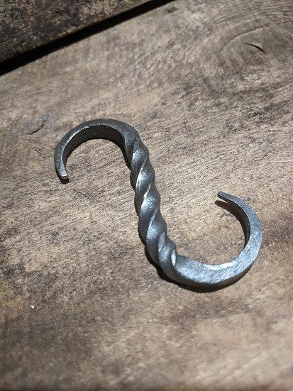 S hook - Pan pot hook rustic farmhouse kitchen Handforged Steel