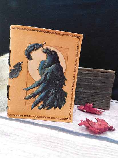 Leather journal - Hand carved Raven Moon Feather leather journal