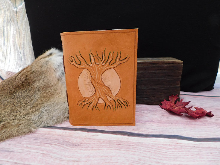 Leather journal - Hand carved Tree of Life Yggdrasil leather journal