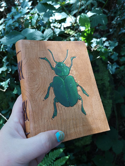 Leather journal - Hand carved stag beetle insect druid leather