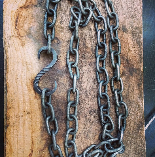Hook & chain for cooking tripod, fire pit, grill, bbq.