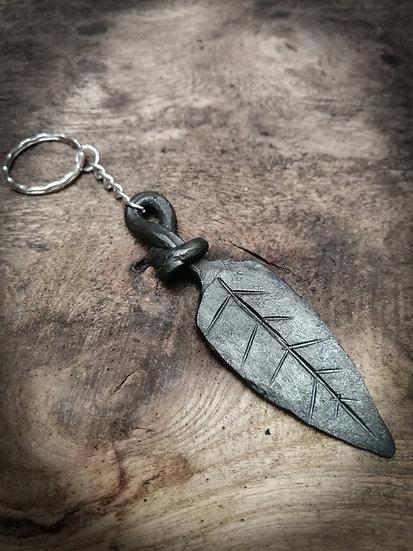 Leaf keychain - Handforge metal steel iron leaf leaves rustic keyring blacksmith