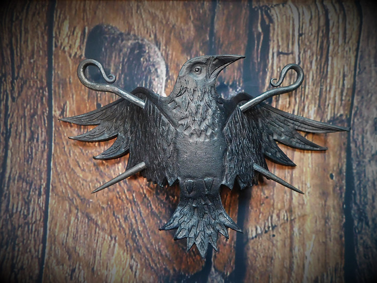 XL Leather Raven Double Hair Pin - Leather & steel crow bird hair pin