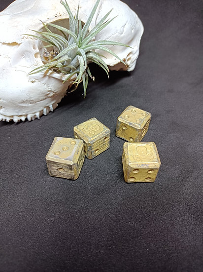 Set of Four Solid Brass Pirate Dice - Handforged Skull and Crossbones
