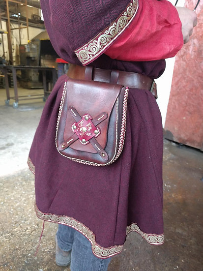 Leather Belt Hip Bag - Larp, reenactment belt pouch