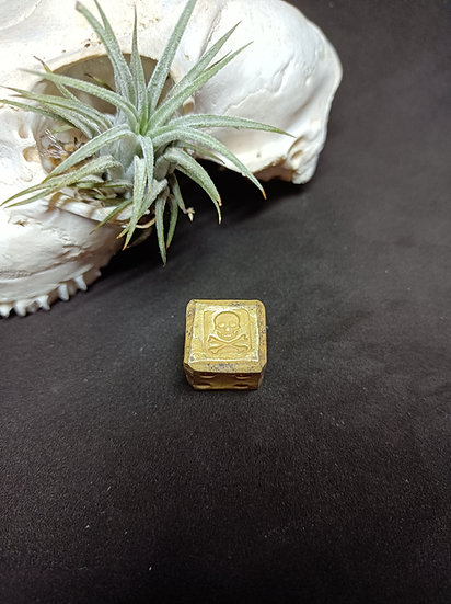 Solid Brass Pirate Dice - Handforged Skull and Crossbones stamped d6