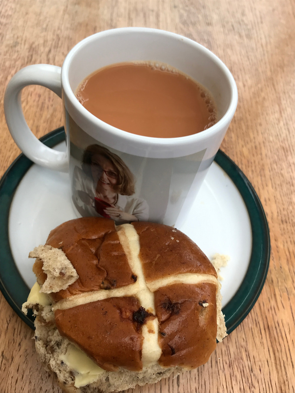 Cup of tea and a hot cross bun.