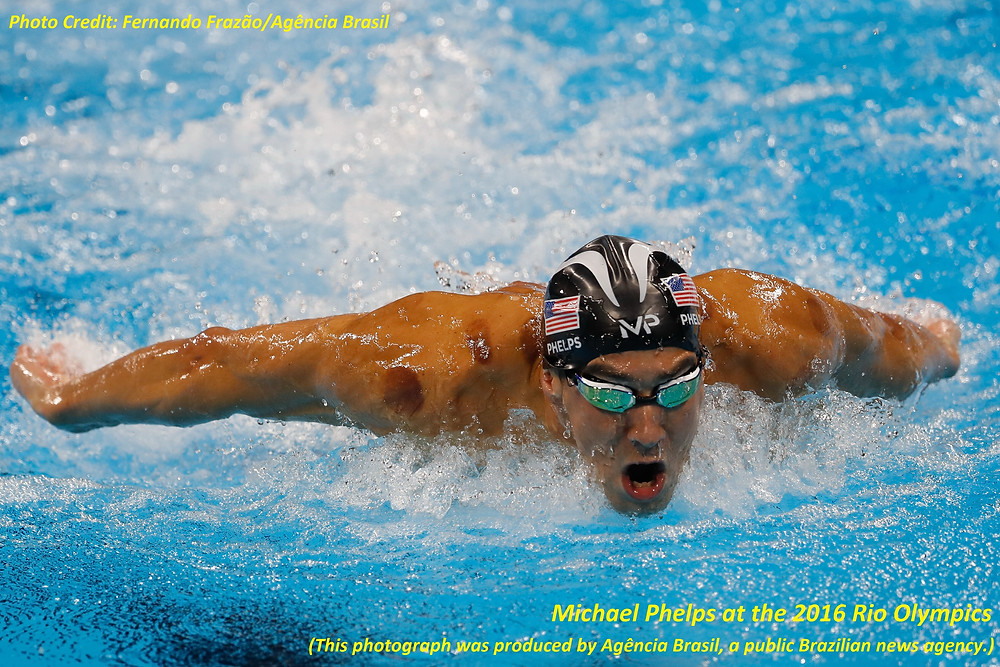 Michael Phelps at the 2016 Rio Olympics (This photograph was produced by Agência Brasil, a public Brazilian news agency.)