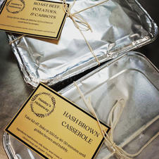 Take and Bake meals are packaged and ready for the freezer and fridge with directions attached.