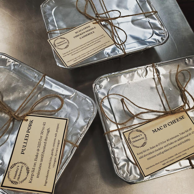 Take and Bake meals are packaged and ready for the freezer or fridge with directions attached.
