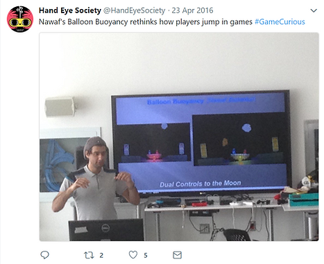 Nawaf giving a talk at Game Curious by Hand Eye Society in 2019