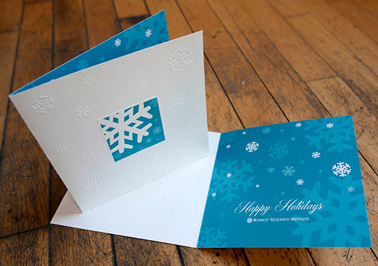 Embossing on Holiday Card for Midwest Research Institute; Designed by Rachel Black Design