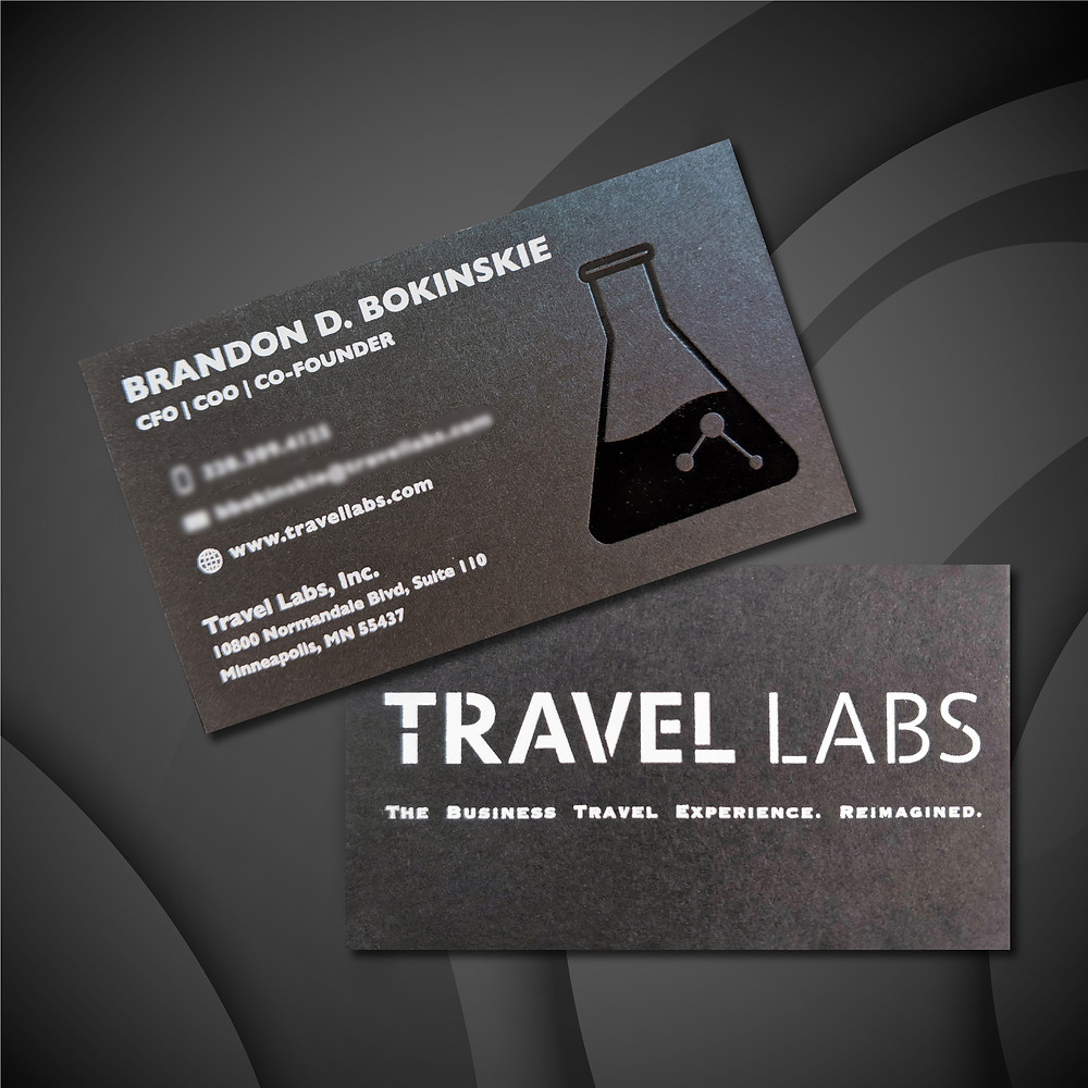 Travel Labs business card foil stamped by Kenning Outsource Group
