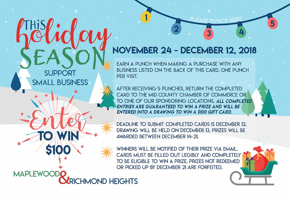 Holiday Reward Punch Card