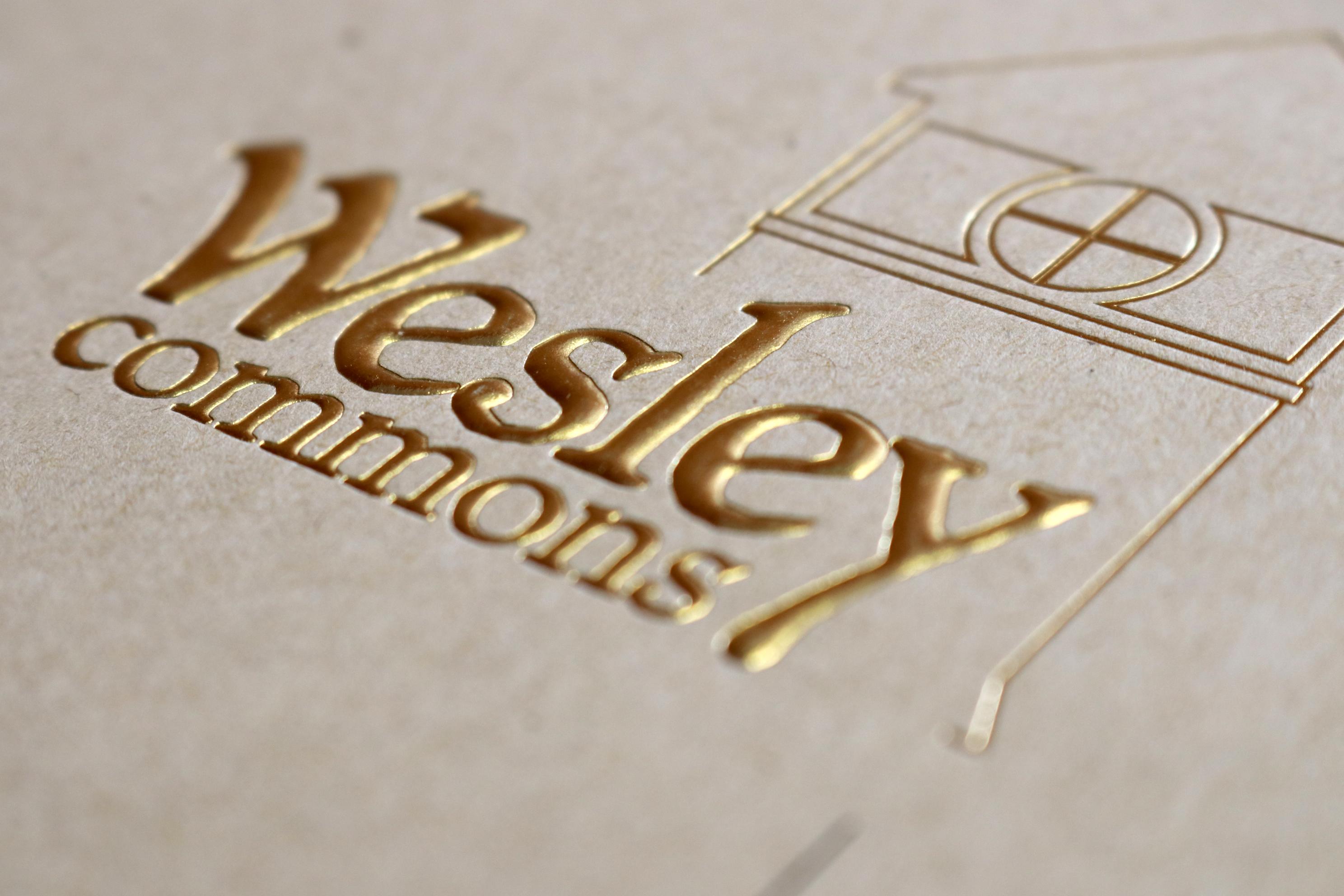 Foil & Embossed Wesley Commons Logo