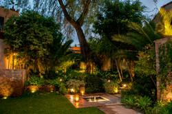 Casa Alegria garden at sunset