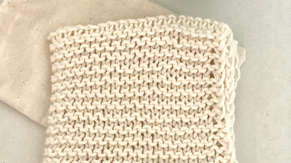Cotton Facewasher ~ pure cotton handknit wash cloth