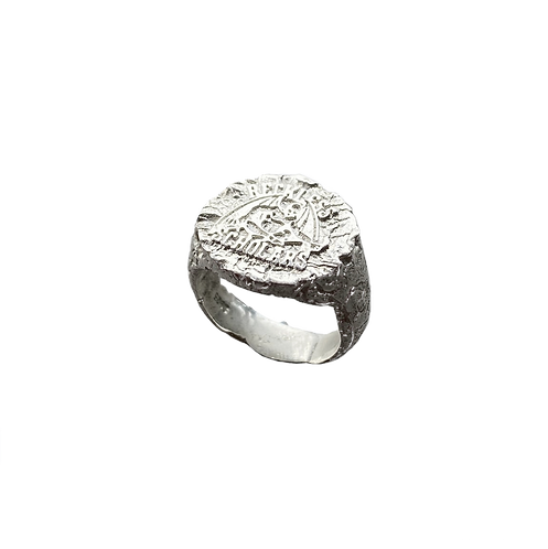 Scholars 925. Ant-Hill Texture Mini Signet Ring