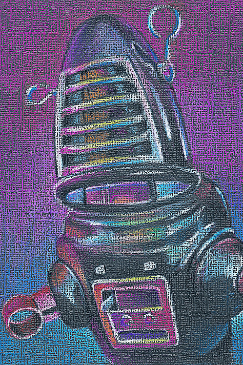 Robbie the Robot, tin wind up toy colored pencil drawing