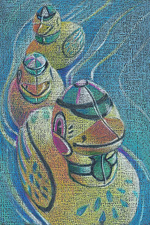 duck family, tin wind up toy colored pencil drawing