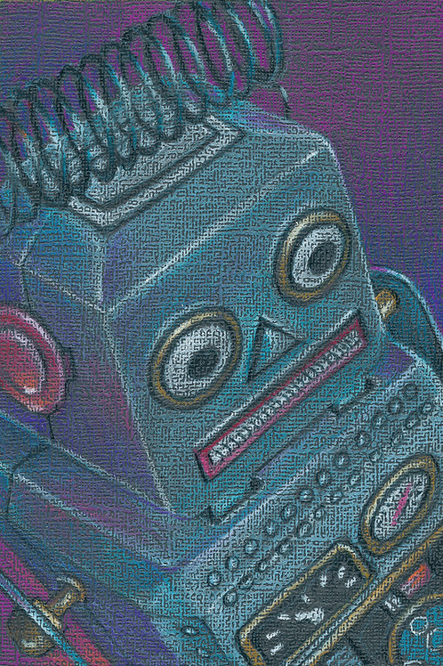 scared little robot, tin wind up toy colored pencil drawing