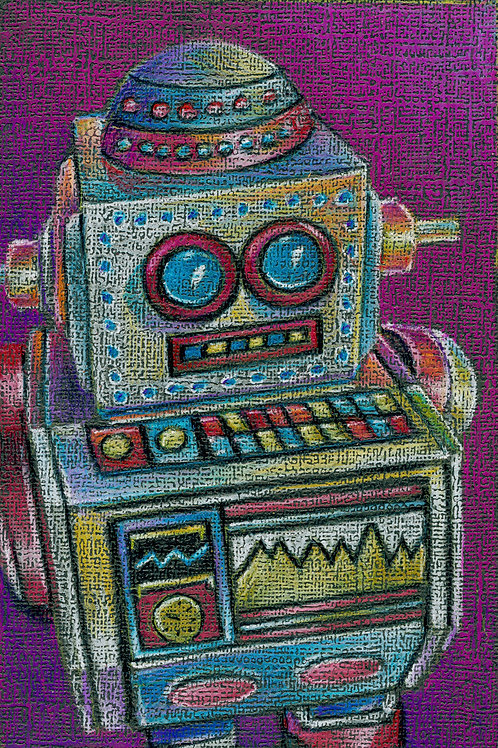small and colorful robot, tin wind up toy colored pencil drawing