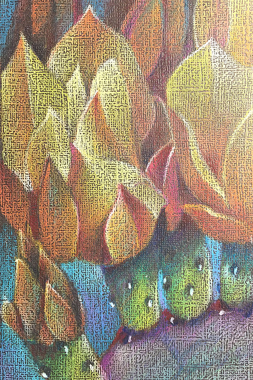 blooming prickly pears, new mexico art series