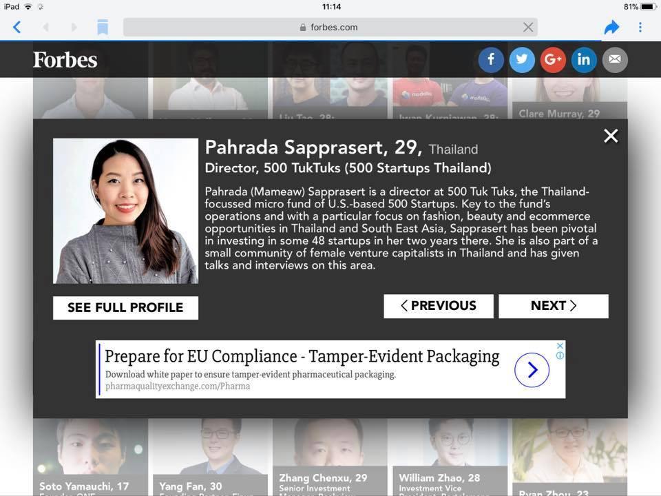 Forbes under 30 500tuktuks startup thailand