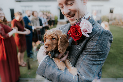 Creative wedding photography: Groom and puppy