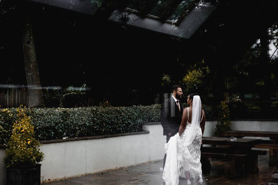 Bride and groom at larmer tree gardens