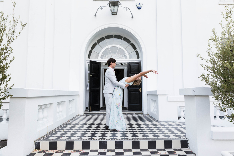 Wedding photography of couple bride and groom outside Belair House