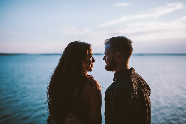 Couple portrait by the sea
