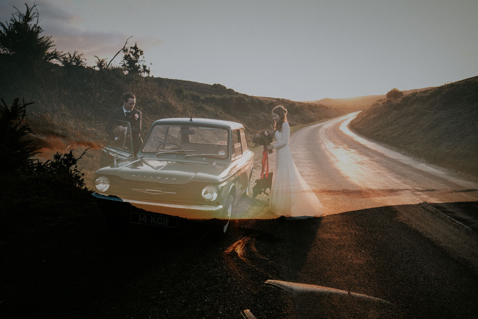 Creative wedding photography: driving the mini at sunset