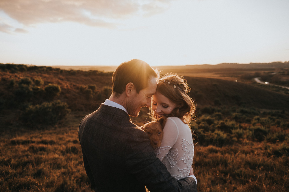 Beautiful photo of bride and groom with their cute puppy at sunset in the New Forest