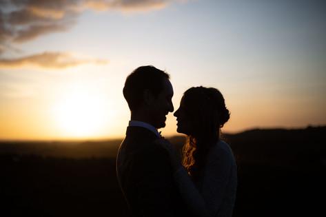 Creative wedding photography: Couple at sunset