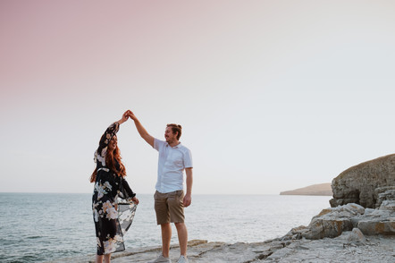 Dancing at sunset on the Dancing Ledge