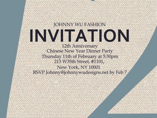 Invitation for Johnny Wu Designs 12th anniversary Dinner Party