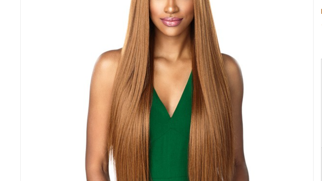 "Sensationnel Human Hair Blend Weave Boutique Bundles Straight 26"" Color -1B"