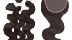 "Sensationnel Virgin Remy Human Hair Weave Bare&Natural Body Wave 3pcs with 4""x4"