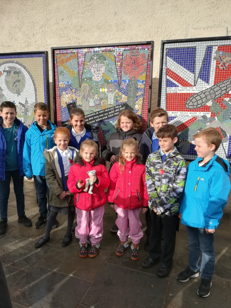 11th November 2018 Aberkenfig town square unveiling of 3 mosaics created by myself and children from Pen Y Fai, Tondy and St Robert's Primary Schools.  It was a wonderful Armistice Day service with the local air cadets and Archbishop of Miskin running the service.