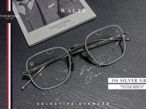 The Optometrist Expert Review :  Thom browne 116 silver grey กับ Hoya Workstyle ID CLIARC index 1.6