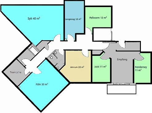 Räume & Mehr Grundriss Seminarräume, Coachingräume, Therapieräume