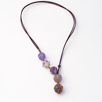 collier cinq perles violet dépoli