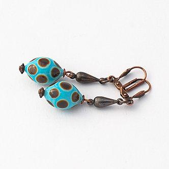 boucles d'oreille turquoise et brun