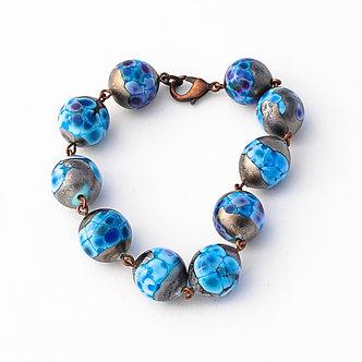 bracelet bleu métalisé