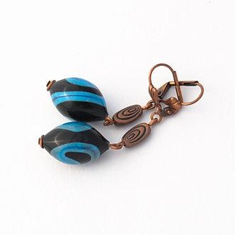 boucles d'oreilles noires et turquoises