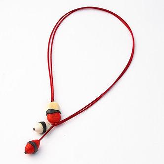 collier 3 perles ivoire et rouge