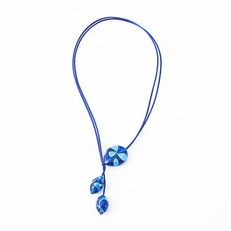 collier 3 perles bleu turquoise