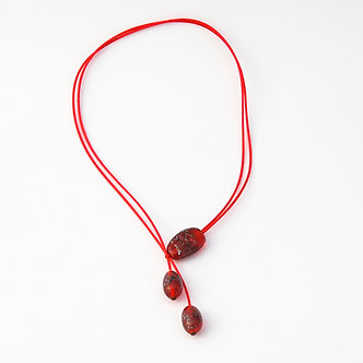 collier 3 perles rouge moucheté